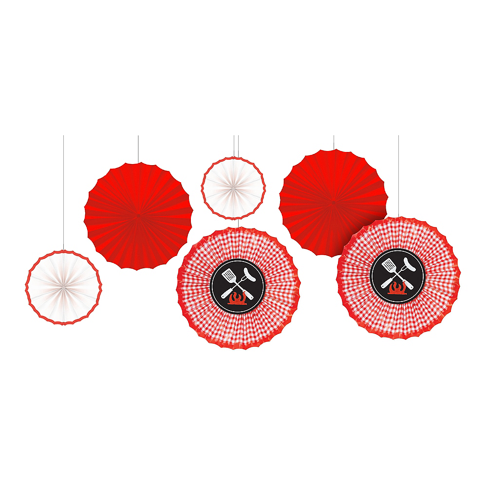 Picnic Party Red Gingham Paper Fan Decorations 6ct | Party City