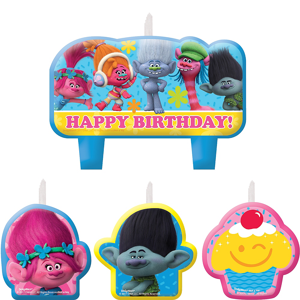 Nav Item for Trolls Birthday Candles 4ct Image #1