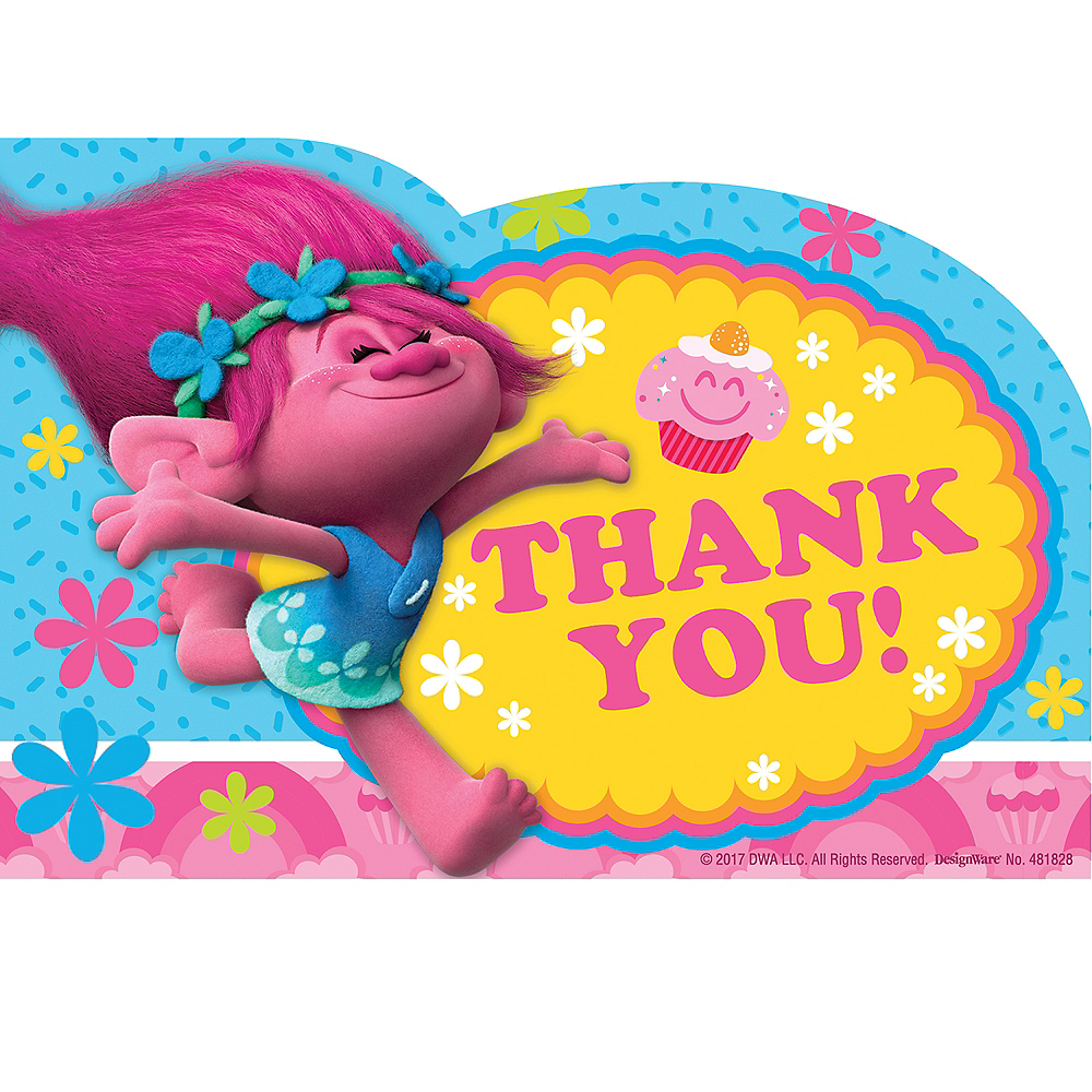 Trolls Thank You Notes 8ct | Party City