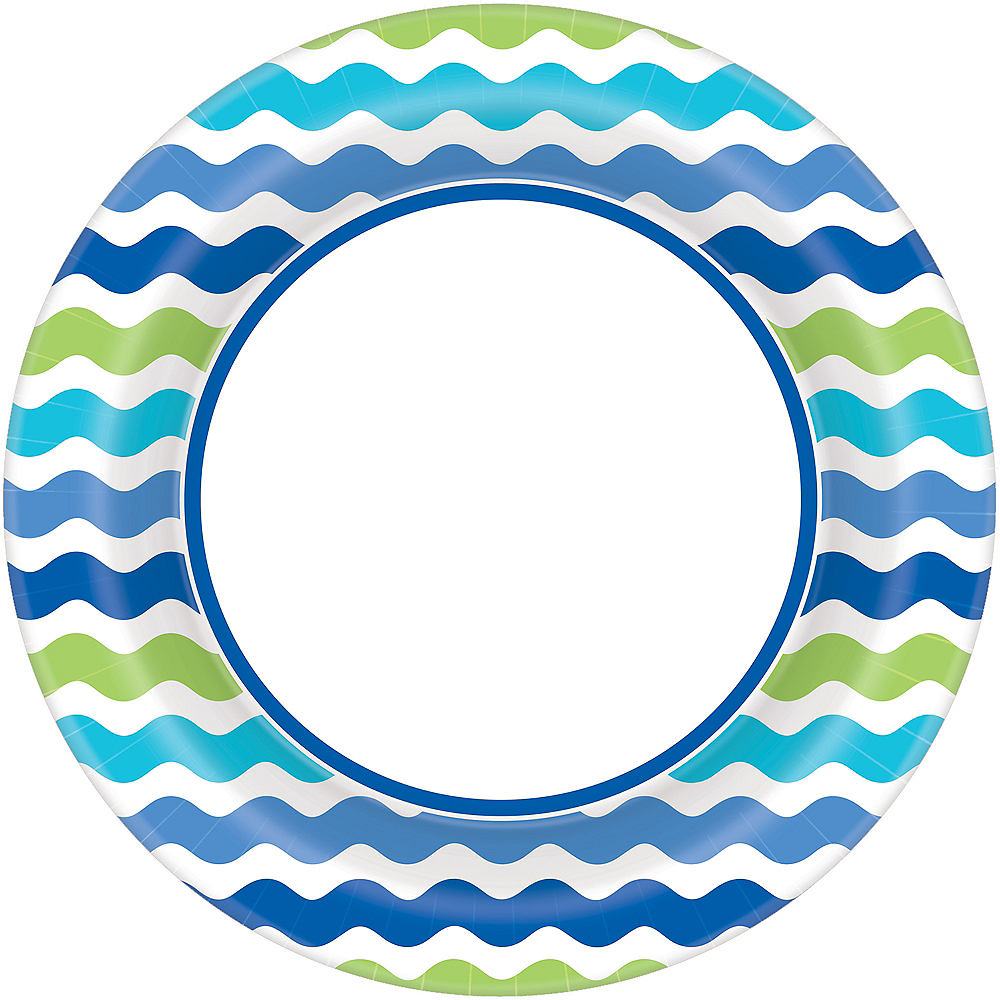 Cool Wavy Stripes Dinner Plates 40ct Image #1