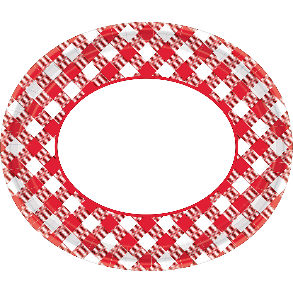 Red Gingham Oval Plates 18ct Image #1