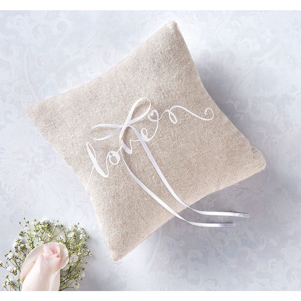 Love Burlap Ring Bearer Pillow Image #1