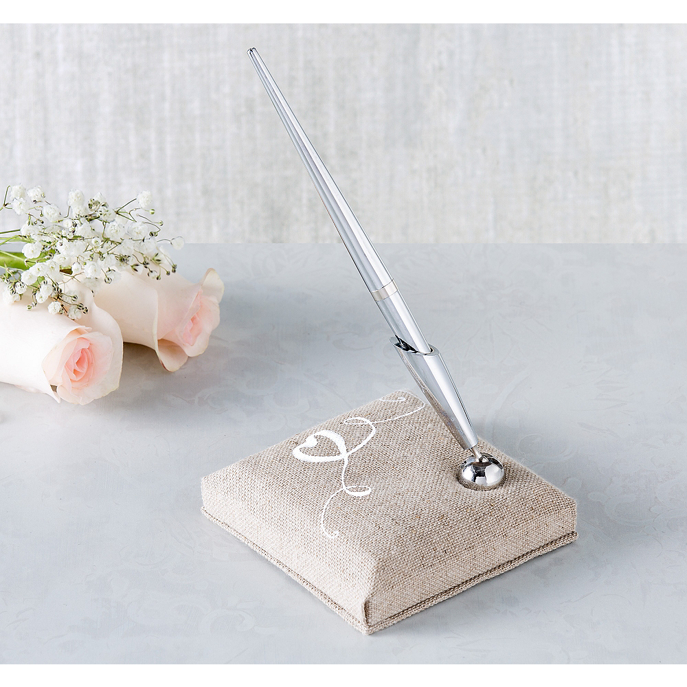 Love Burlap Pen Stand Set 2pc Image #1
