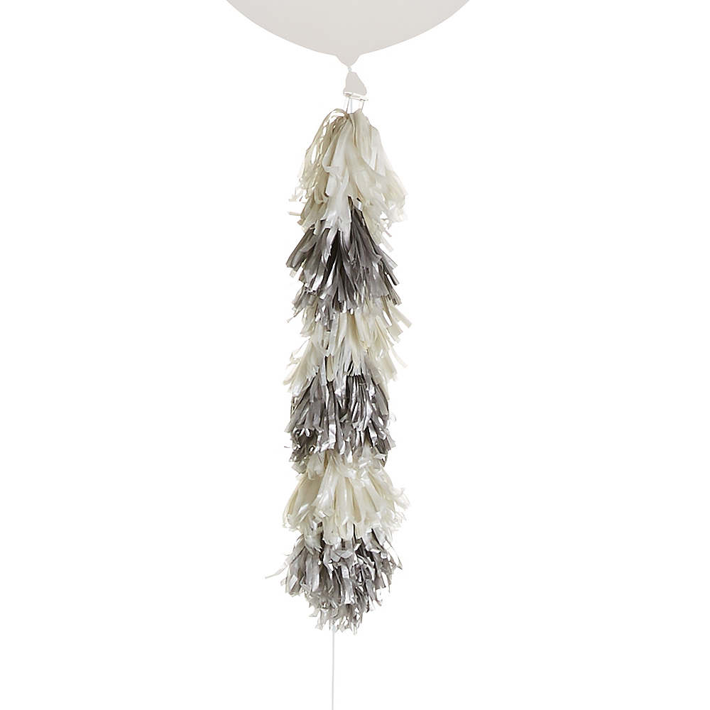 Silver & White Tassel Balloon Weight Tail Image #1