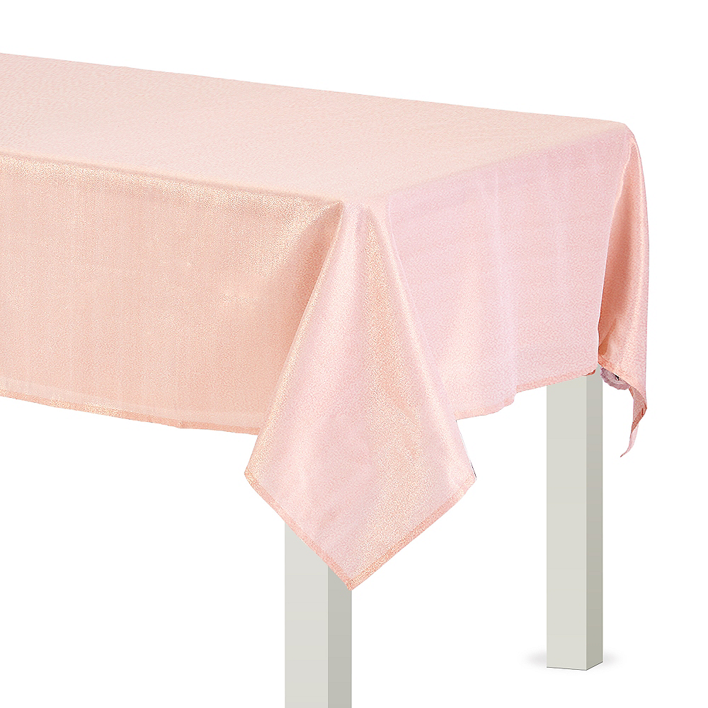 Metallic Rose Gold Fabric Tablecloth Image #1