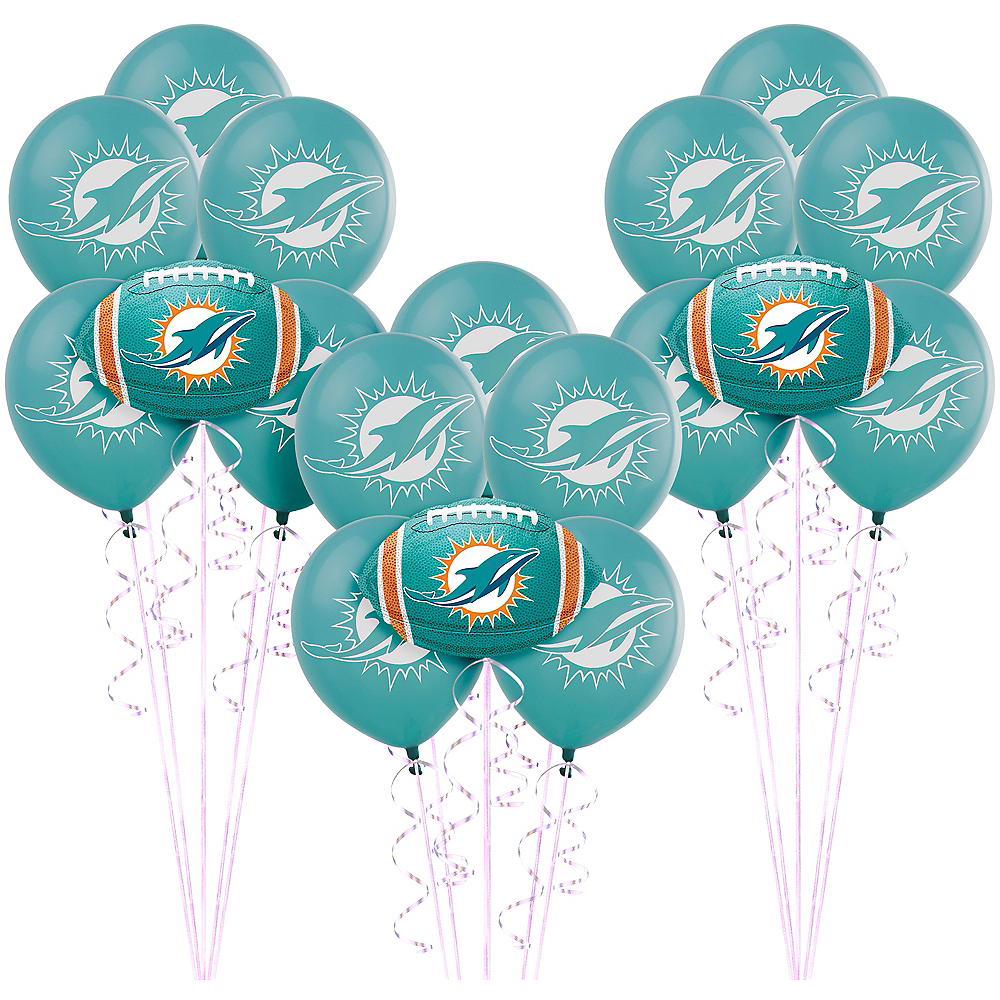 Peachy Miami Dolphins Balloon Kit Nfl Football Party Supplies Party City Personalised Birthday Cards Paralily Jamesorg