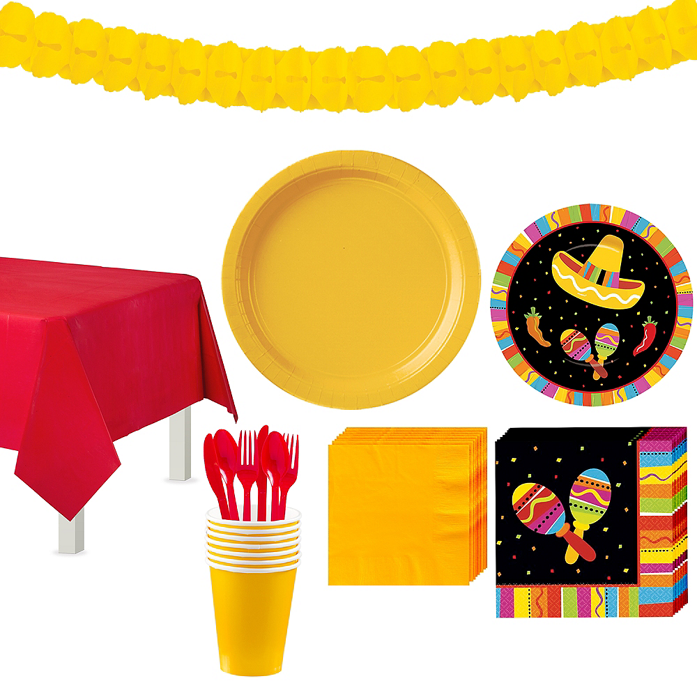 Bright Fiesta Tableware Kit for 16 Guests Image #1