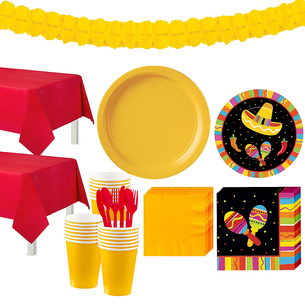 Bright Fiesta Tableware Kit for 32 Guests Image #1
