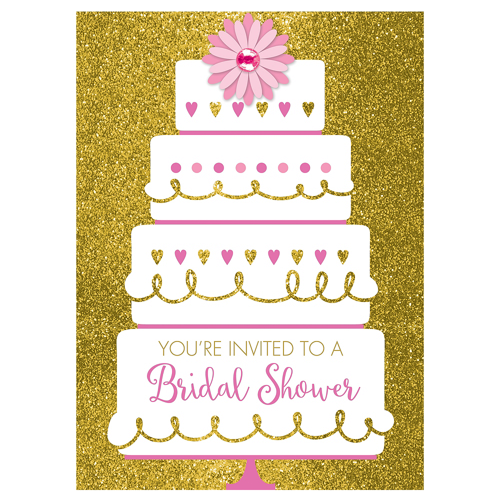 Gold Glitter Wedding Cake Bridal Shower Invitations 8ct Image #1