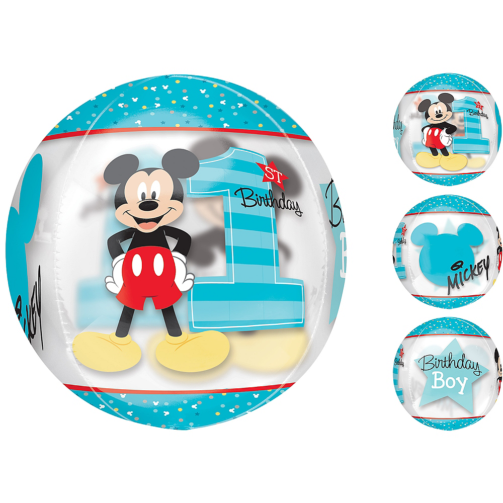 1st Birthday Mickey Mouse Balloon - See Thru Orbz Image #1