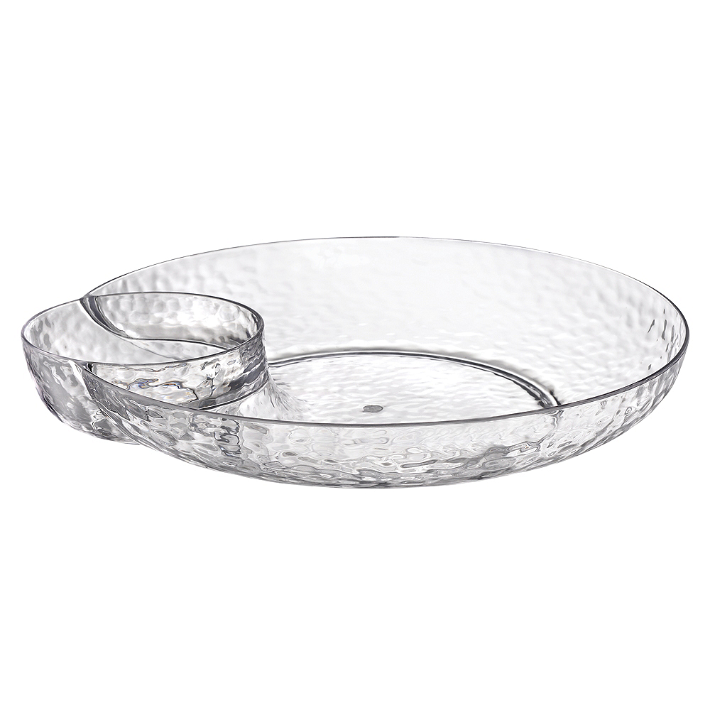CLEAR Premium Plastic Hammered Chip & Dip Tray Image #1