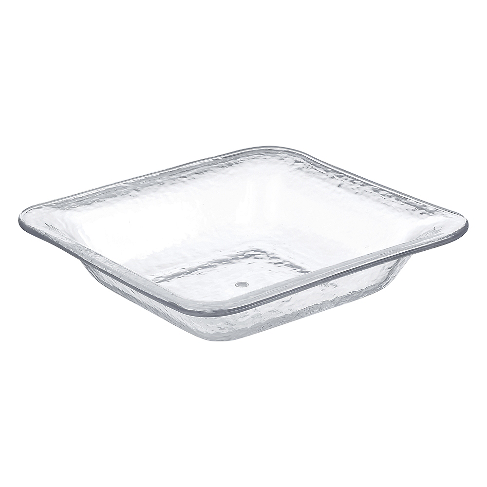 CLEAR Premium Plastic Hammered Square Serving Dish Image #1