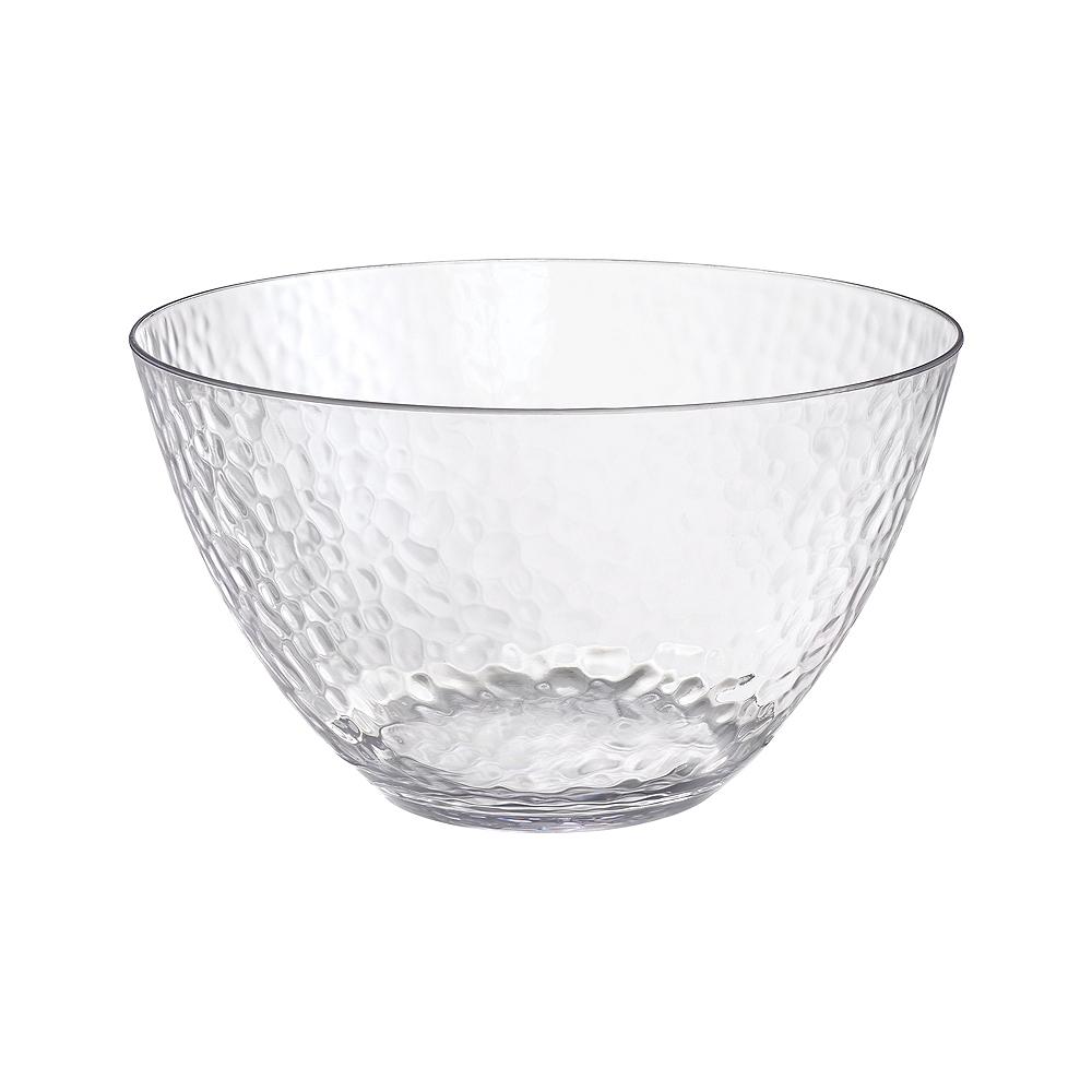 CLEAR Premium Plastic Hammered Serving Bowl Image #1