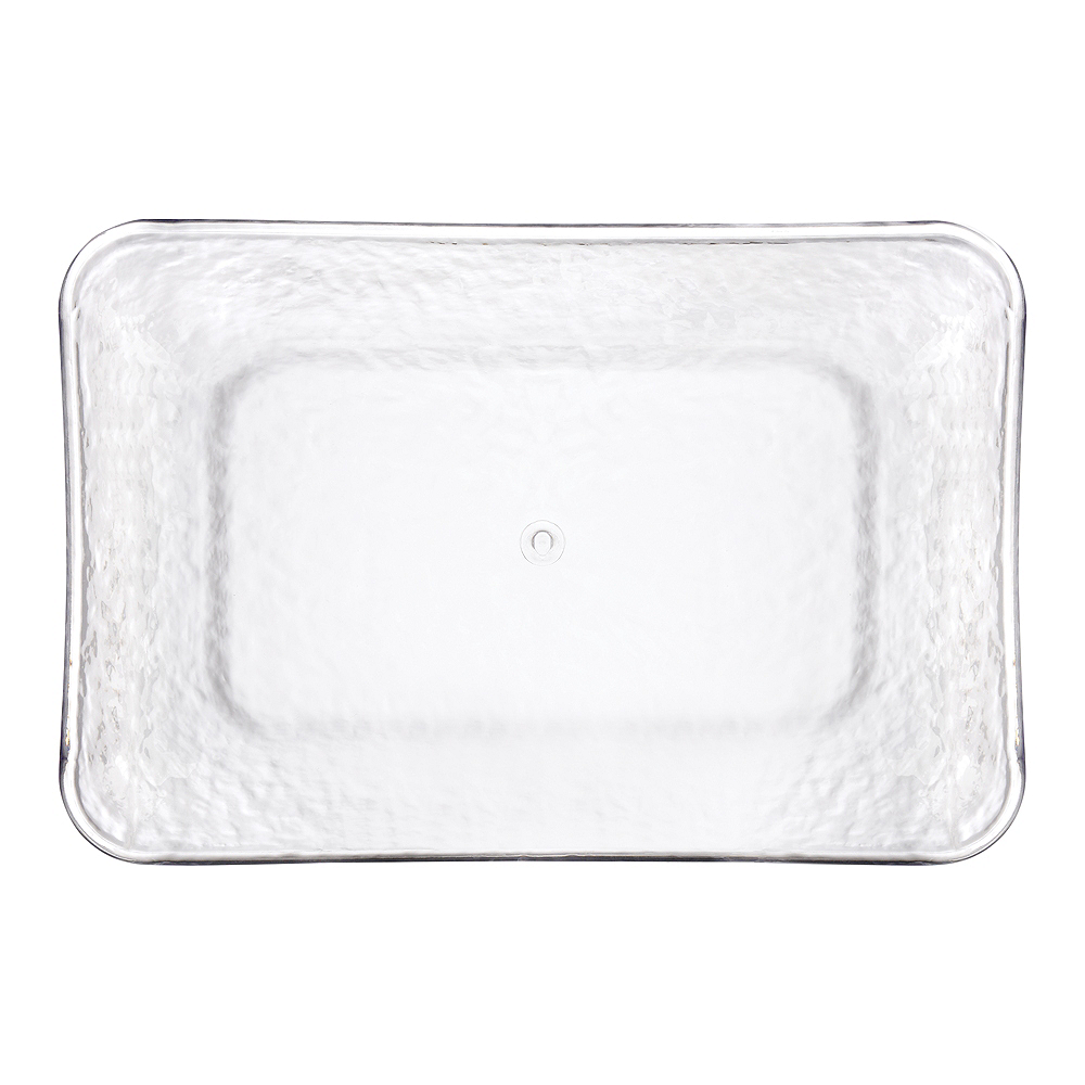 CLEAR Premium Plastic Hammered Rectangular Serving Tray Image #1