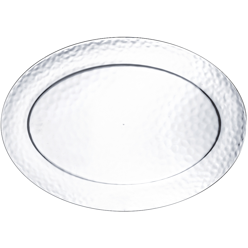 Large CLEAR Premium Plastic Hammered Oval Platter Image #1