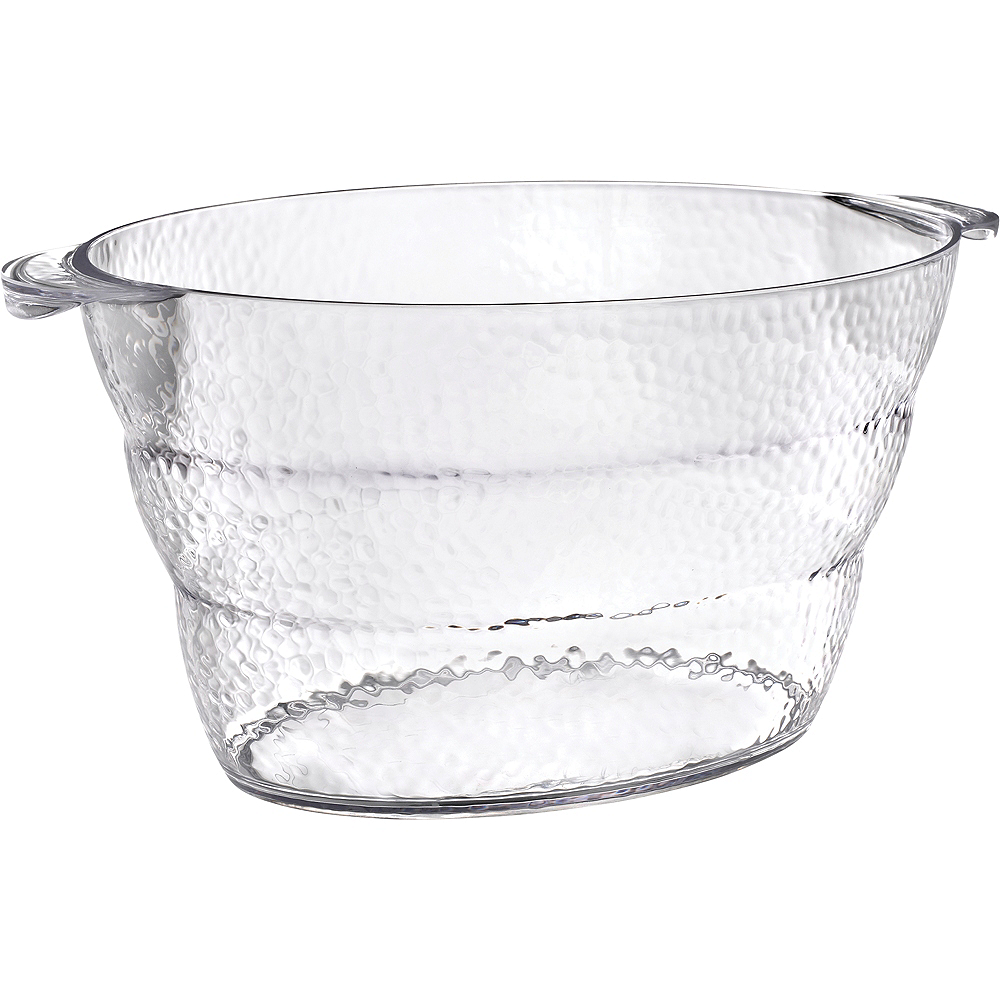 CLEAR Premium Plastic Hammered Oval Ice Bucket Image #1