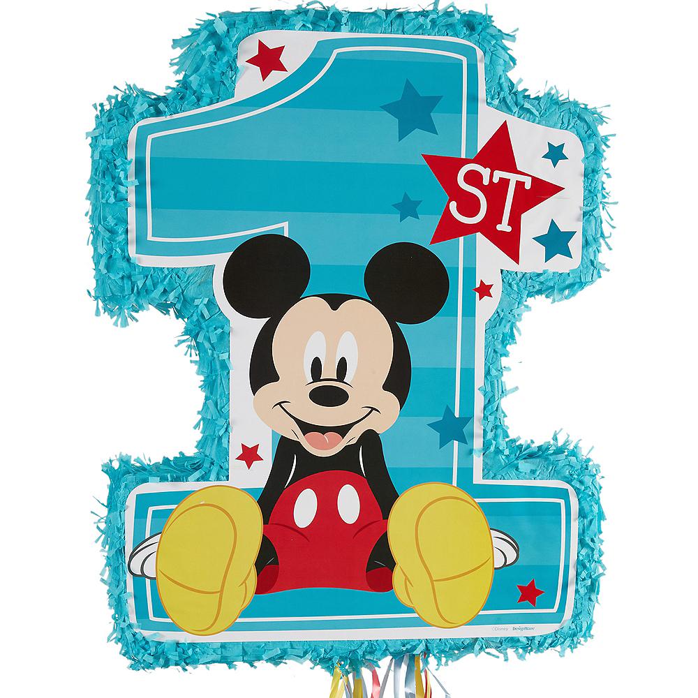 Pull String 1st Birthday Mickey Mouse Pinata Image #1