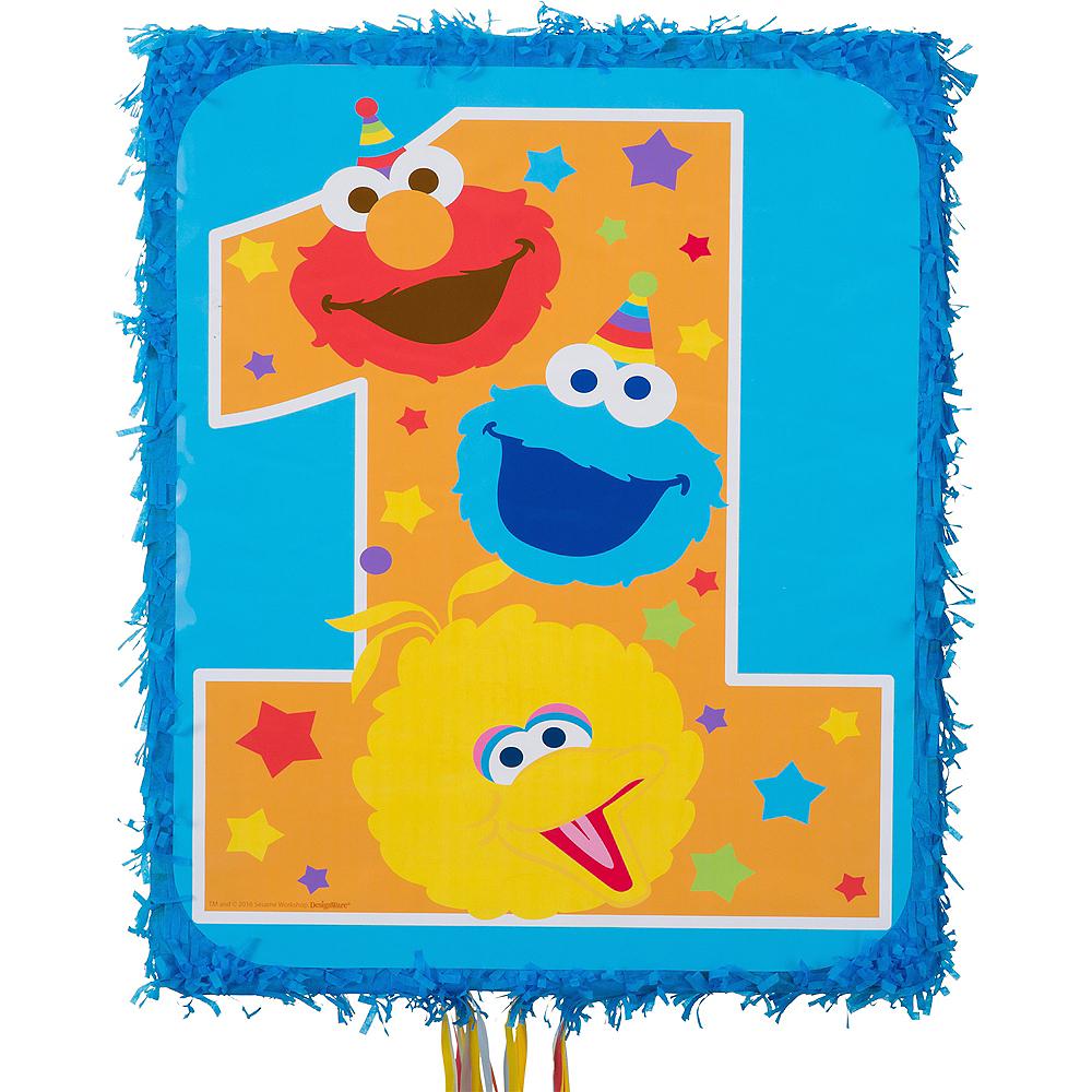 Pull String 1st Birthday Sesame Street Pinata Image #1