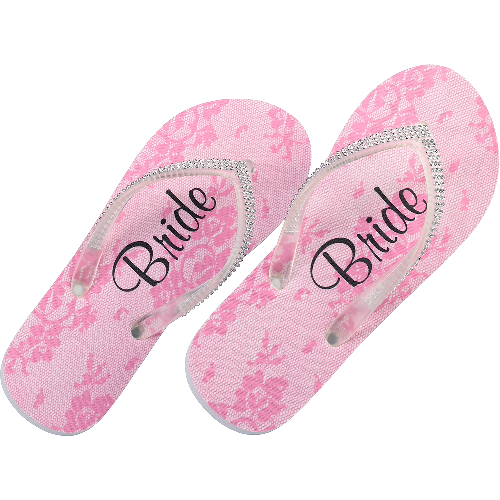 412e341b94c4 Adult Medium Pink Bride Flip Flops Image  1