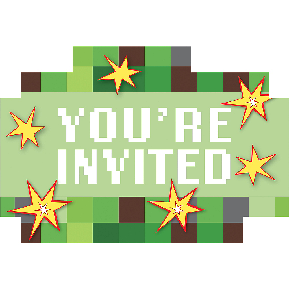 Pixelated Invitations 8ct Image #1
