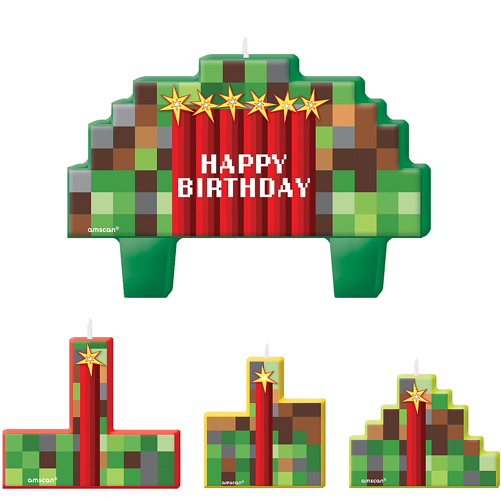 Pixelated Birthday Candles 4ct Image #1