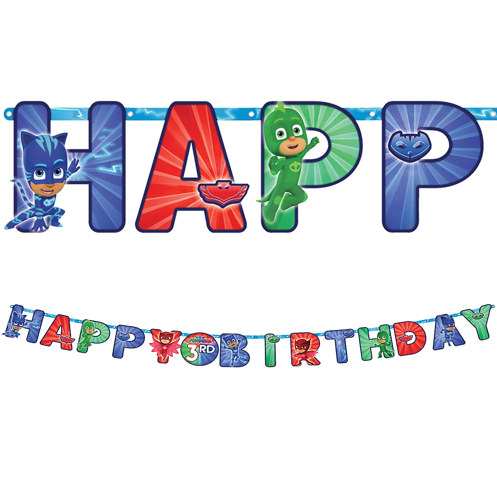 pj masks birthday banner kit 10 1 2ft x 10in party city