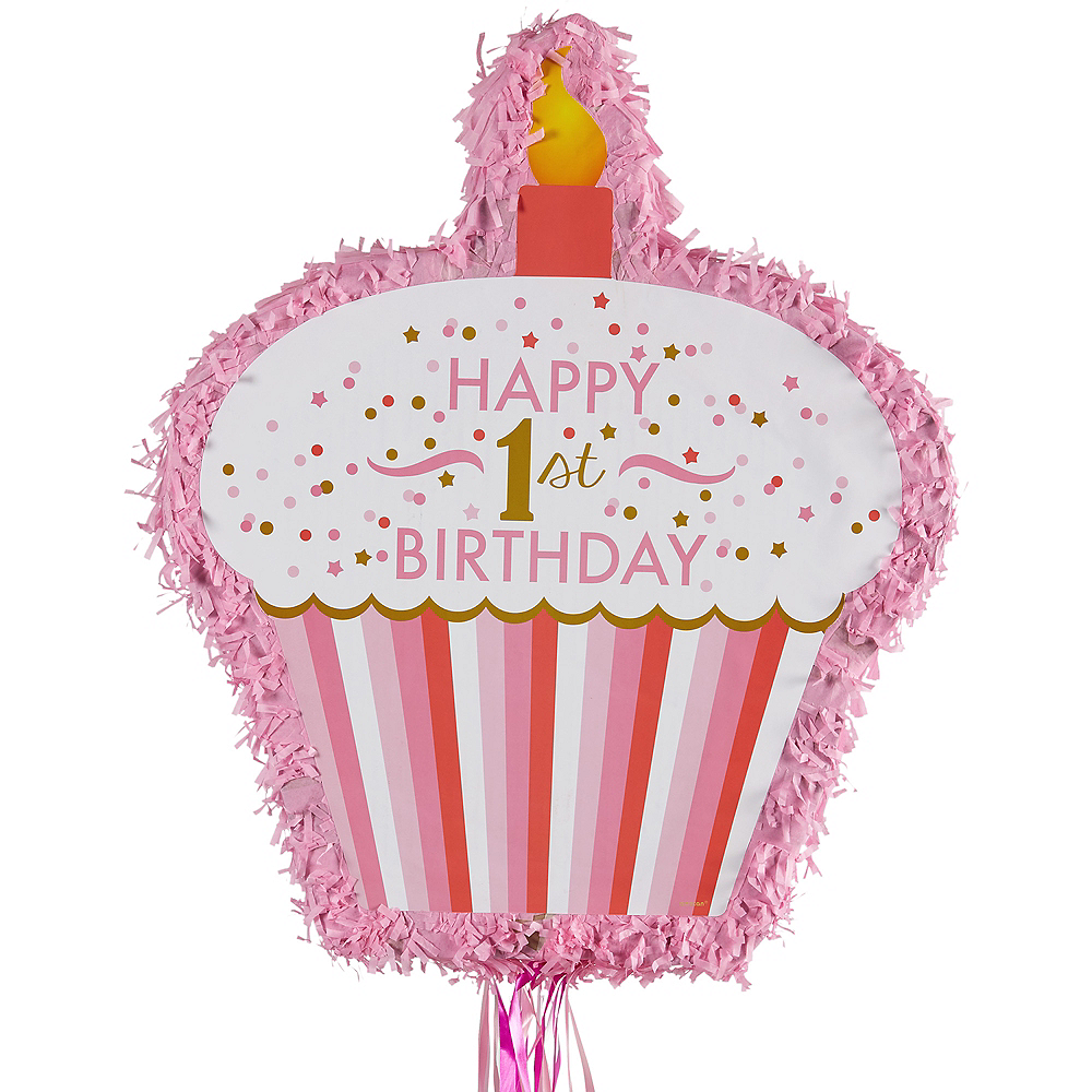Nav Item for Pull String Pink Cupcake 1st Birthday Pinata Image #1