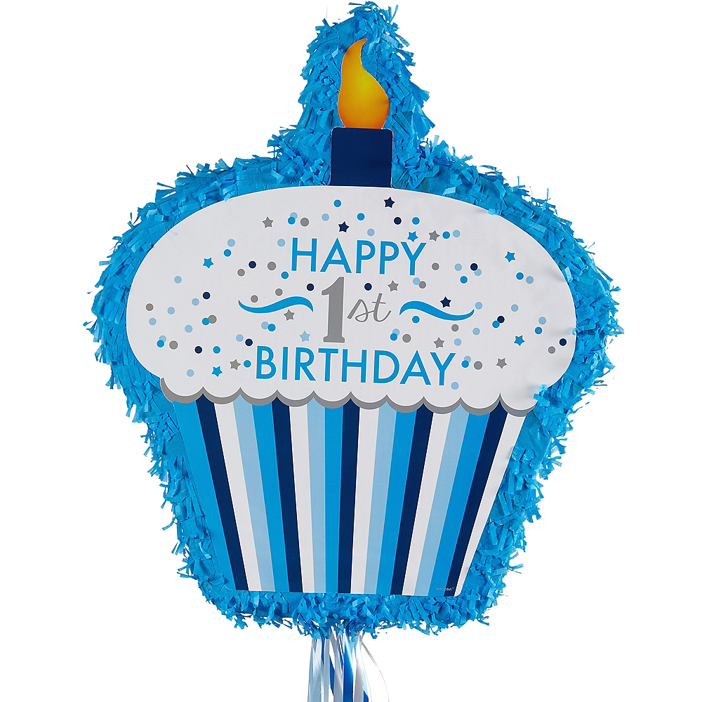 Nav Item for Pull String Blue Cupcake 1st Birthday Pinata Image #1