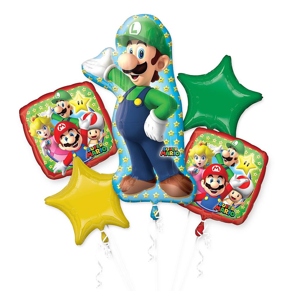 Giant Luigi Birthday Balloon Bouquet 5pc - Super Mario Image #1