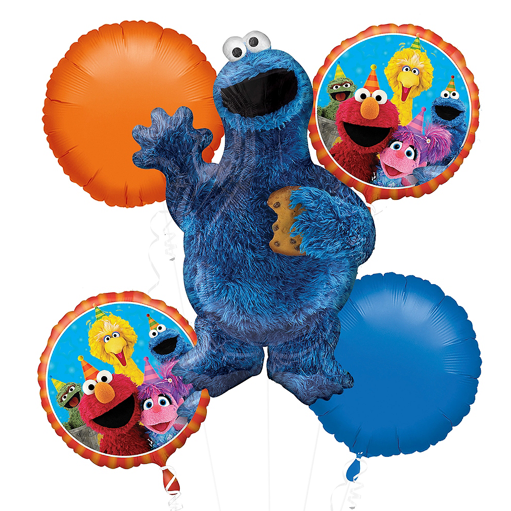 Cookie Monster Balloon Bouquet 5pc Sesame Street
