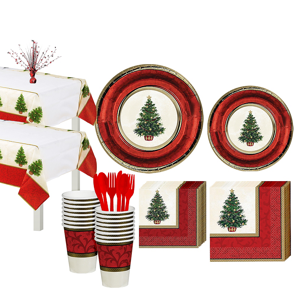 Classic Christmas Tree Tableware Kit for 16 Guests Image #1