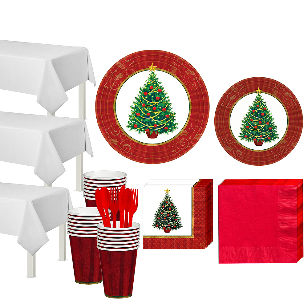 Twinkling Christmas Tree Tableware Kit for 50 Guests Image #1
