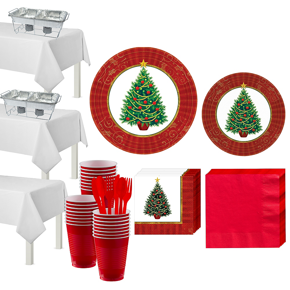 Twinkling Christmas Tree Tableware Kit for 100 Guests Image #1