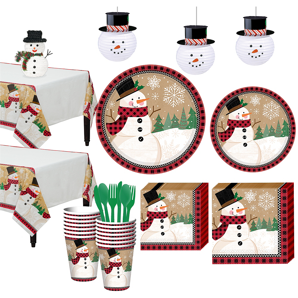 Winter Wonder Snowman Tableware Kit for 16 Guests Image #1