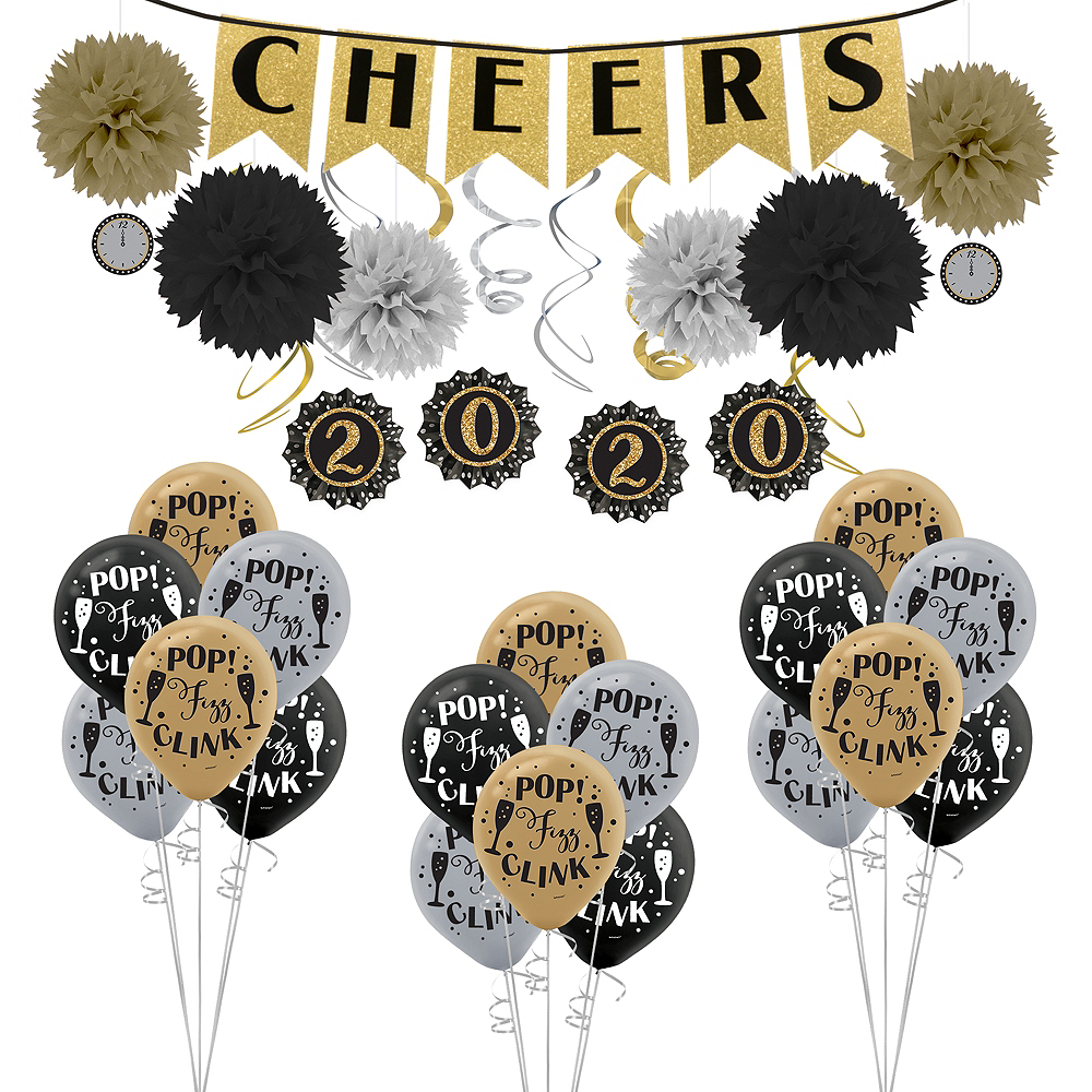 Black, Gold & Silver New Year's Decorating Kit Image #1
