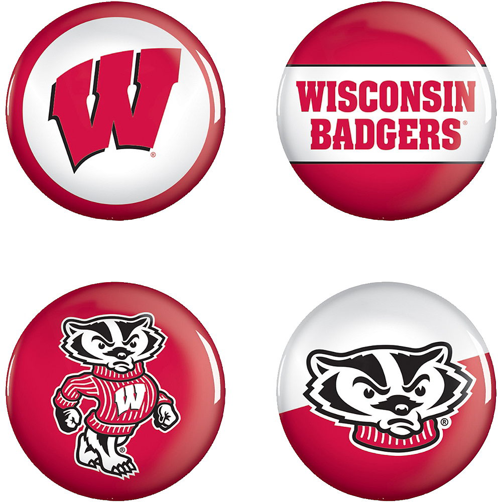 Wisconsin Badgers Buttons 4ct Image #1