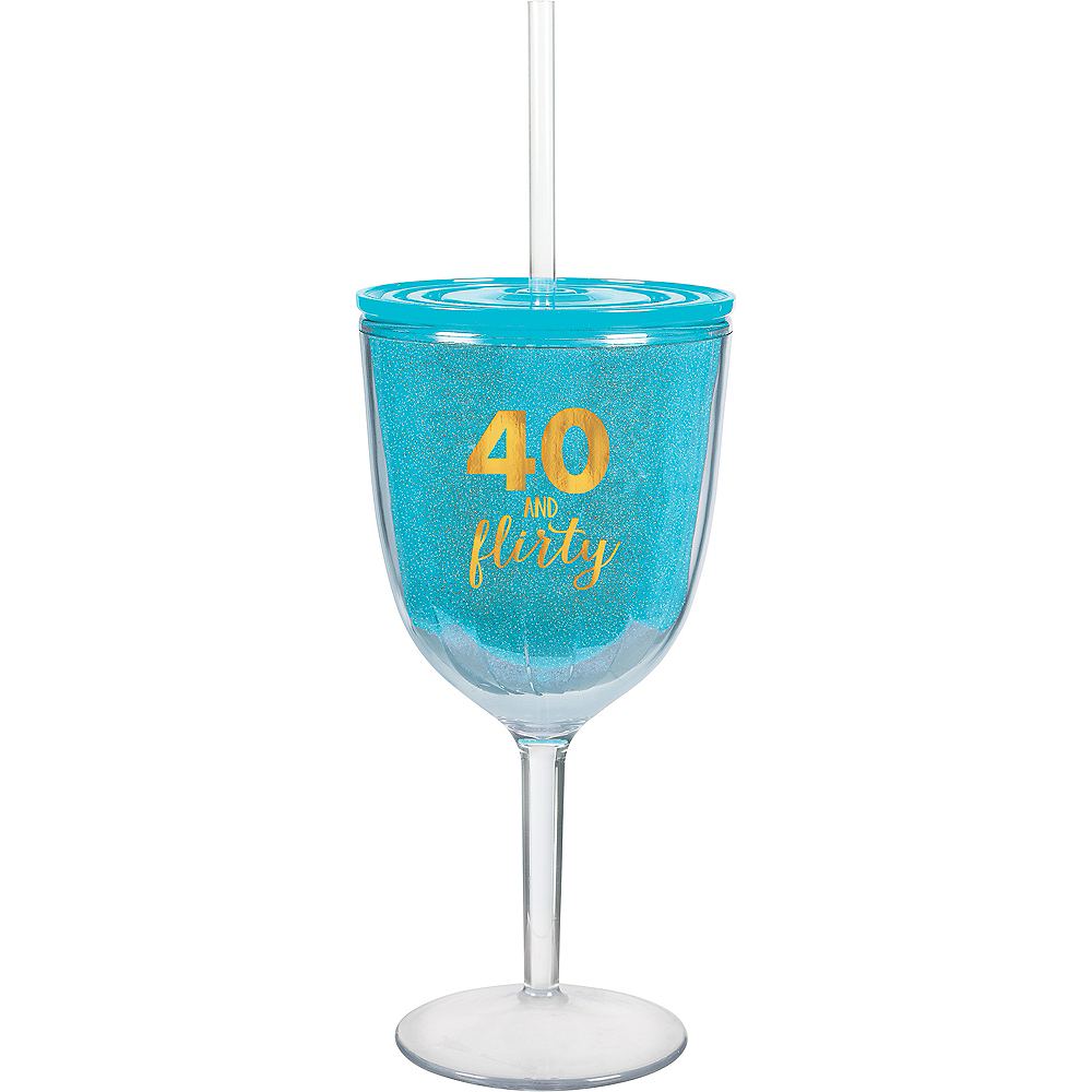 Nav Item for 40 & Flirty Wine Tumbler with Straw Image #1