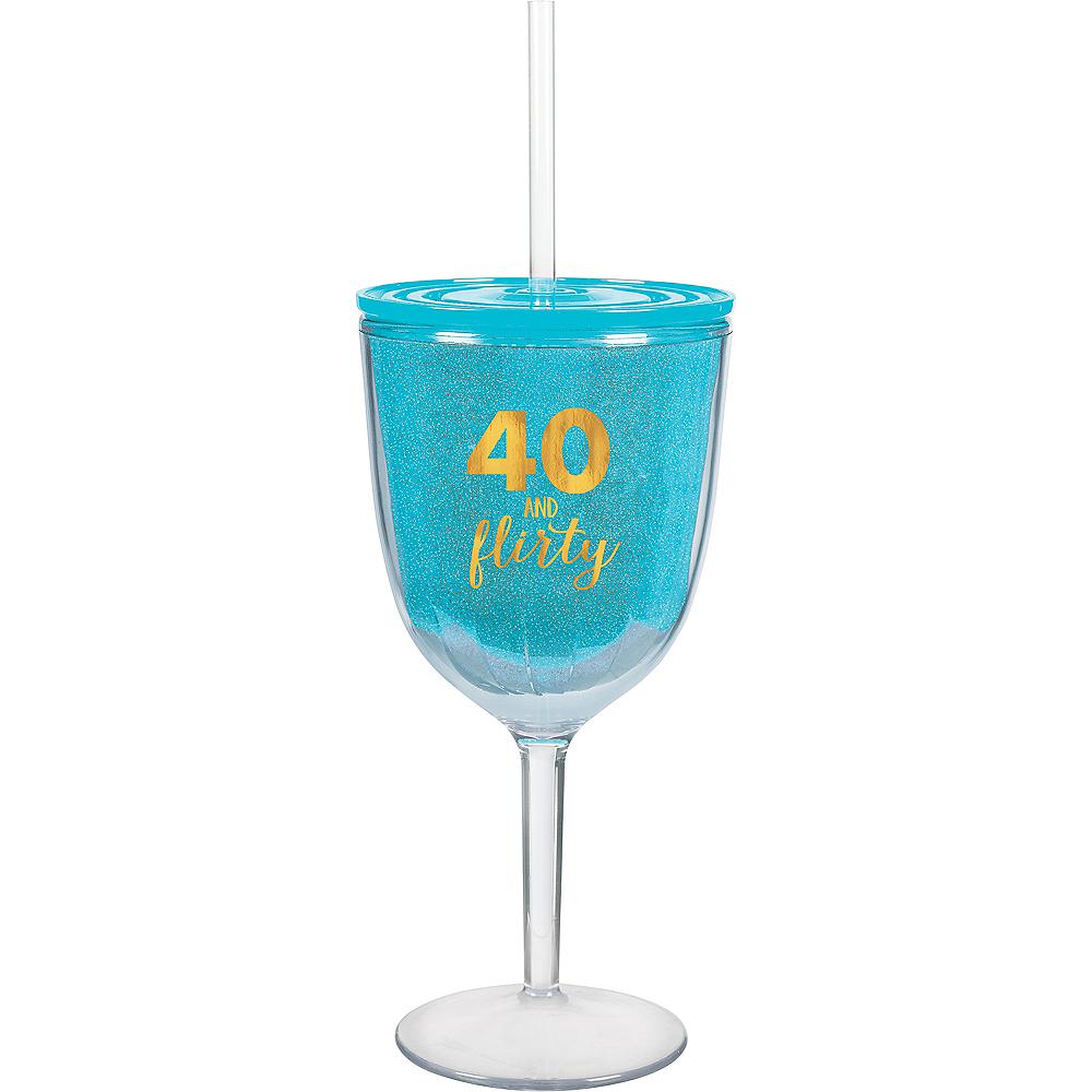40 & Flirty Wine Tumbler with Straw Image #1