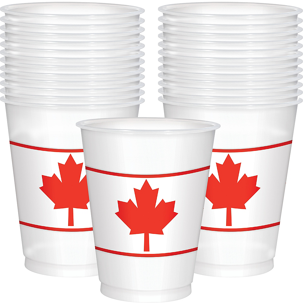 Canadian Maple Leaf Cups 25ct Image #1