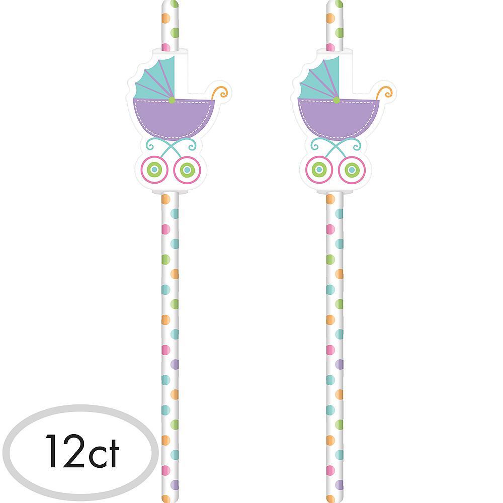 Gender-Neutral Stroller Baby Shower Paper Straws 12ct Image #1