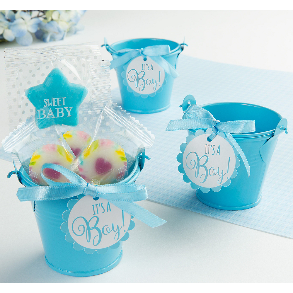 Blue Metal Pail Baby Shower Favor Kit 8ct Image 1