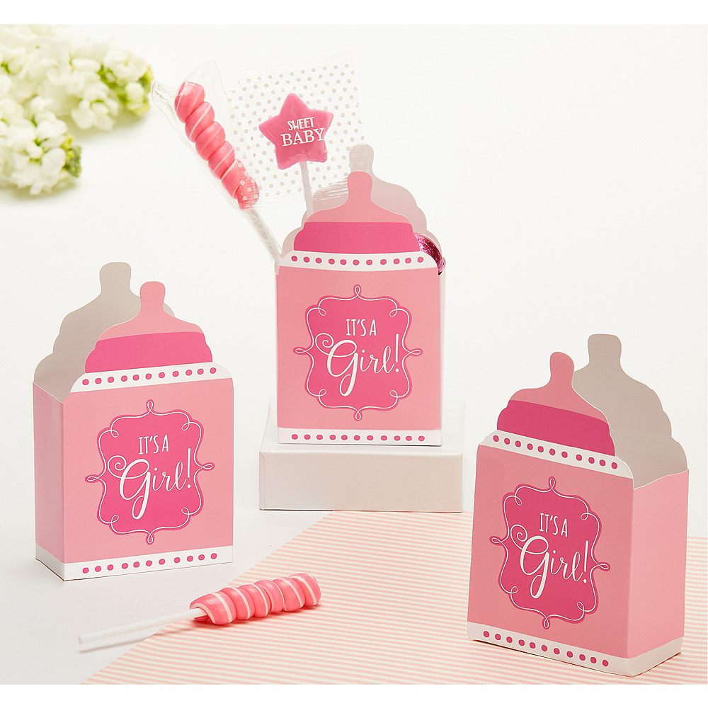 Pink It's a Girl Baby Shower Favor Boxes 24ct Image #1