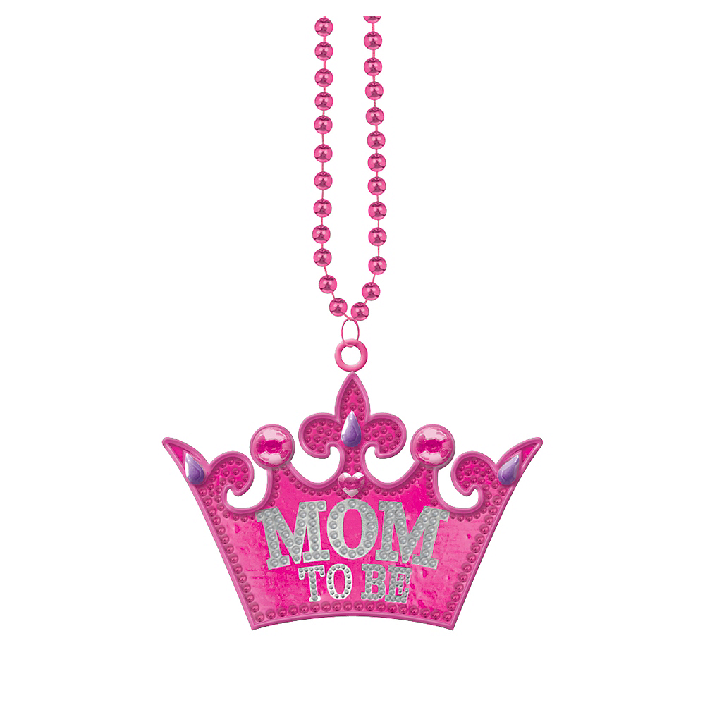 Mom-to-Be Tiara Pendant Bead Necklace Image #1