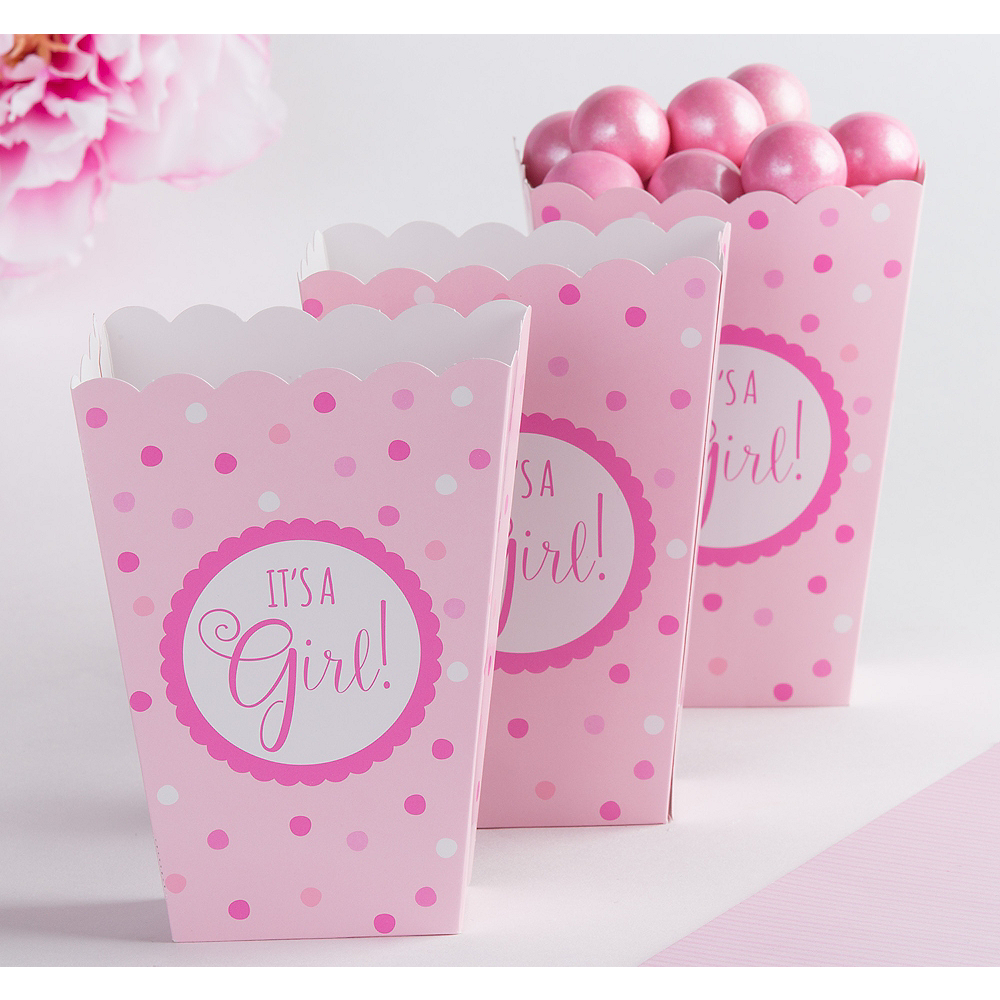 Pink It\'s a Girl Baby Shower Popcorn Boxes 20ct | Party City