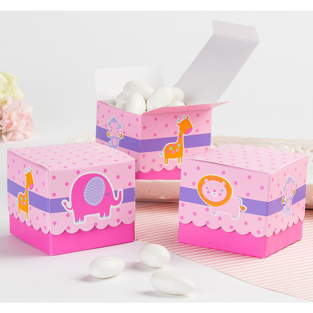 Pink Animal Baby Shower Favor Boxes 24ct Image #1