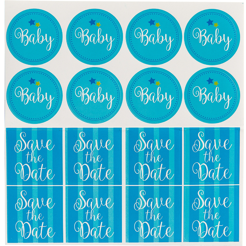 Blue Bottle Baby Shower Invitations 8ct