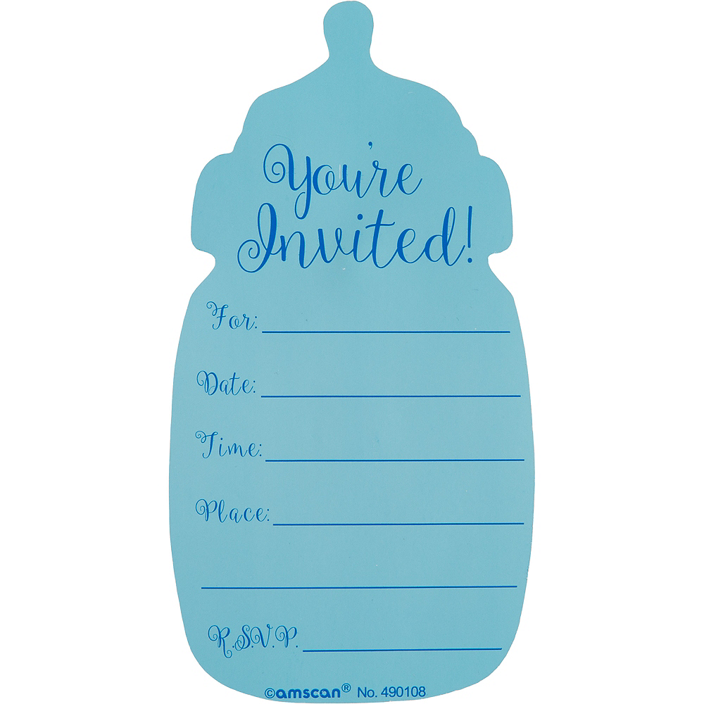 Premium blue bottle baby shower invitations 8ct party city nav item for premium blue bottle baby shower invitations 8ct image 3 filmwisefo