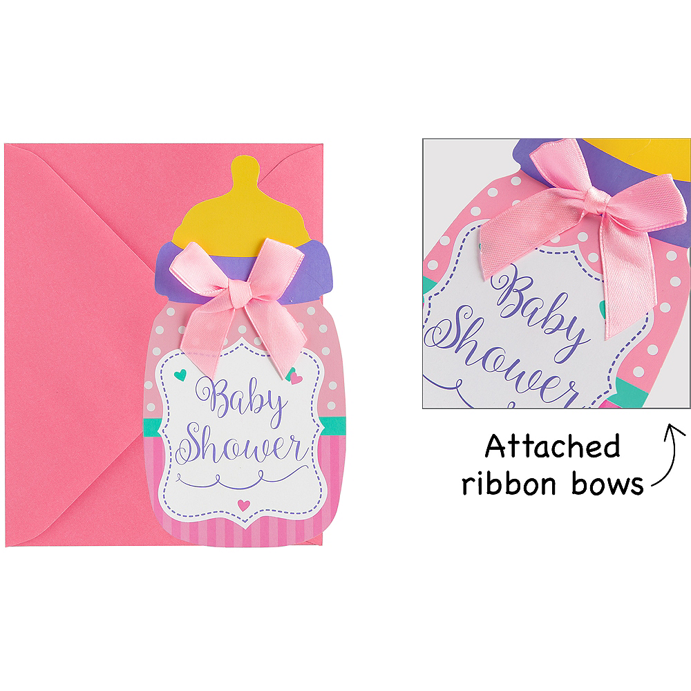 Premium Pink Bottle Baby Shower Invitations 8ct Image #1