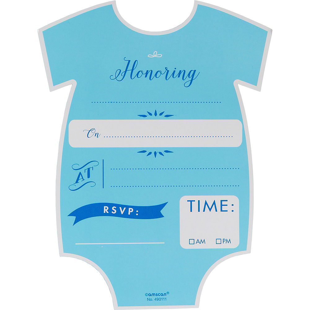 Premium Blue Nautical Snapsuit Baby Shower Invitations 8ct Image #2