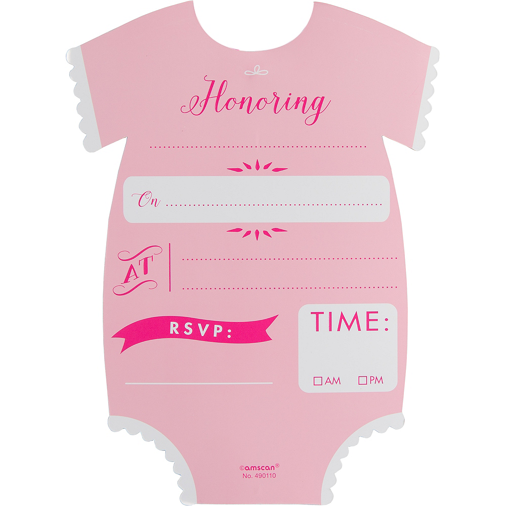 Premium Pink Snapsuit Baby Shower Invitations 8ct Image #2